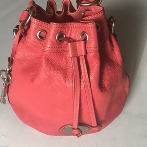 FOSSIL Leather coral drawcord bucket bag purse